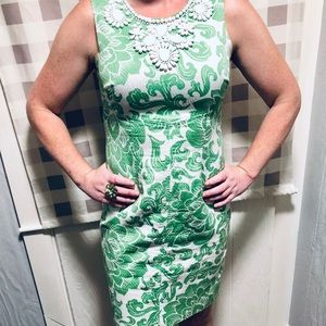 Chadwick's Collection 6P green/white floral Dress